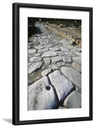 France, Rhone-Alpes, Roman Colony St-Romain-En-Gal, Stone Paved Road--Framed Giclee Print