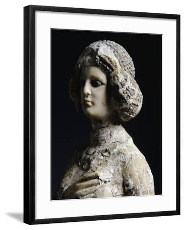 Female Figure in Limestone and Stucco, Detail of the Face, Artefact from Seleucia, Iraq--Framed Giclee Print
