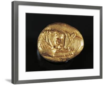Gold Stater of King Croesus Depicting Lion Facing Bull, Greek Coins, 7th Century BC--Framed Giclee Print