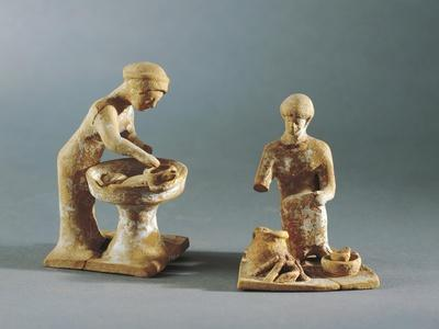 Terracotta Statuettes Depicting Daily Life Scenes, from Tanagra, Greece--Framed Giclee Print