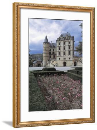 Formal Garden in Front of a Castle, Vizille Castle, Rhone-Alpes, France--Framed Giclee Print