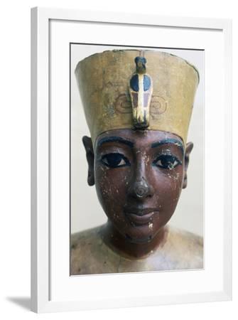 Head of Tutankhamun in Painted Wood, from Tomb of Tutankhamun--Framed Giclee Print