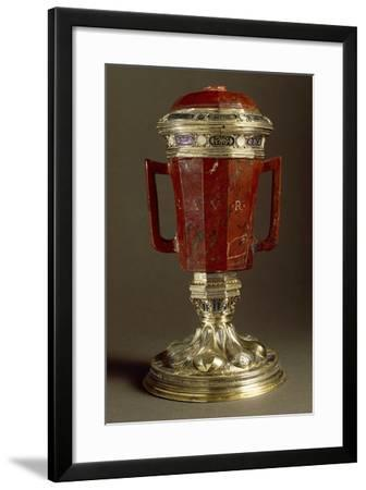 Red Jasper, Enameled Gilded Silver Vase with Two Handles and Lid--Framed Giclee Print