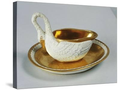 Small Swan-Shaped Gravy Boat, Porcelain, Dagoty Manufacture, Paris, France--Stretched Canvas Print
