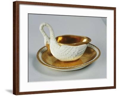 Small Swan-Shaped Gravy Boat, Porcelain, Dagoty Manufacture, Paris, France--Framed Giclee Print