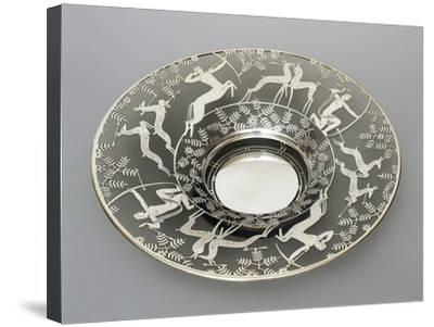 Electroplated Glass Plate with Hunting Scenes, 1930-1939, Italy--Stretched Canvas Print