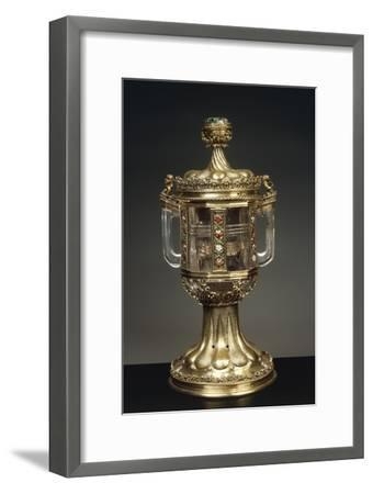 Cylindrical Rock Crystal Vase with Two Handles and with Enameled and Gilded Silver Mount--Framed Giclee Print