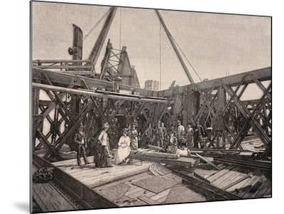 Visitors on the Second Terrace of the Eiffel Tower, August, 1888, France--Mounted Giclee Print