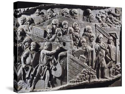 Cast of Trajan's Column, Detail of Decebalus, King of Dacians Gathering People--Stretched Canvas Print