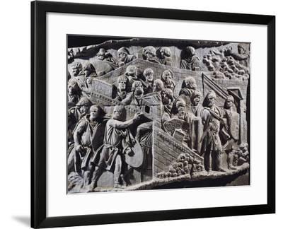 Cast of Trajan's Column, Detail of Decebalus, King of Dacians Gathering People--Framed Giclee Print