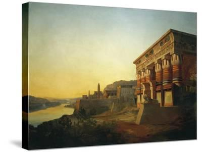 Sunset on Nile and Egyptian Temple, 1869 by Carlo Macro Jr 19th Century--Stretched Canvas Print