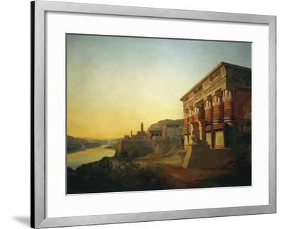 Sunset on Nile and Egyptian Temple, 1869 by Carlo Macro Jr 19th Century--Framed Giclee Print