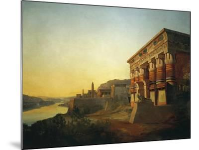 Sunset on Nile and Egyptian Temple, 1869 by Carlo Macro Jr 19th Century--Mounted Giclee Print