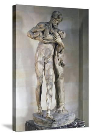 Statue of Silenus with Dionysus in His Arms--Stretched Canvas Print