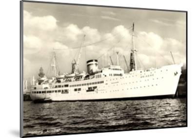 Hamburger Hafen, Dampfer Ariadne Vor Anker--Mounted Giclee Print