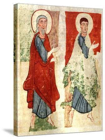 The Apostles Paying Homage to Christ, Miniature from the Atlantic Bible, Manuscript--Stretched Canvas Print