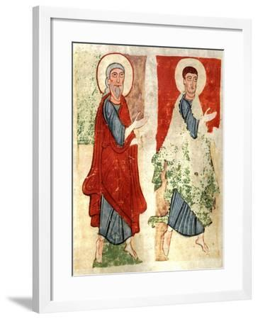 The Apostles Paying Homage to Christ, Miniature from the Atlantic Bible, Manuscript--Framed Giclee Print