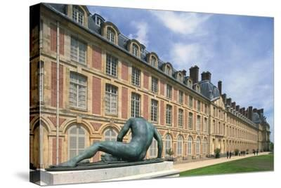France, Seine Et Marne, Ile-De-France, Statue Outside Fontainebleau Castle--Stretched Canvas Print