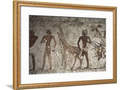 Mural Paintings of Tributes from Foreign Peoples, Detail of Giraffe from Punt--Framed Giclee Print