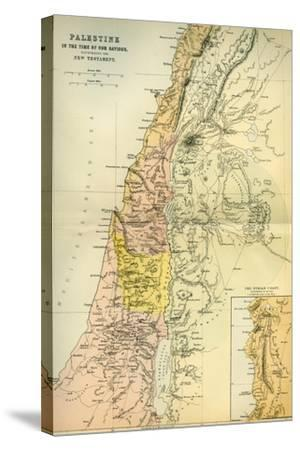 Map of Palestine Circa 1st Century A.D. from the Imperial Bible Dictionary, Published 1889--Stretched Canvas Print