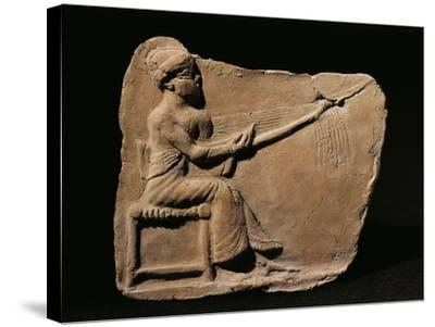 Terracotta Plaquette Figurine Depicting Woman Weaving--Stretched Canvas Print