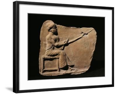 Terracotta Plaquette Figurine Depicting Woman Weaving--Framed Giclee Print