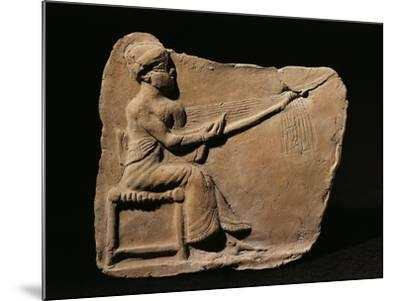 Terracotta Plaquette Figurine Depicting Woman Weaving--Mounted Giclee Print