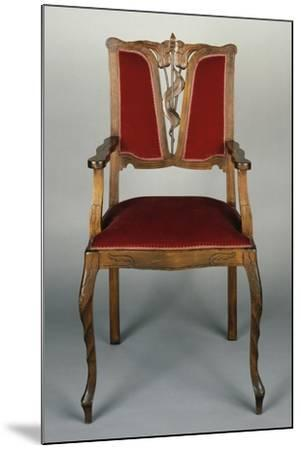 Art Nouveau Style Armchair, Carved Walnut, Italy--Mounted Giclee Print