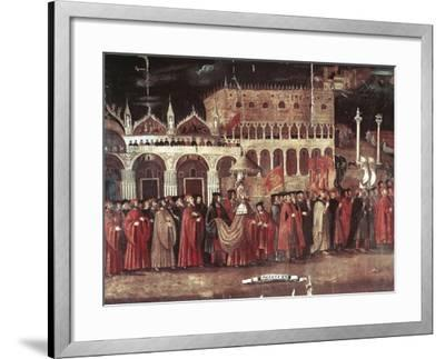 Caterina Cornaro Procession in Piazza San Marco, Venice, Italy, 1489--Framed Giclee Print