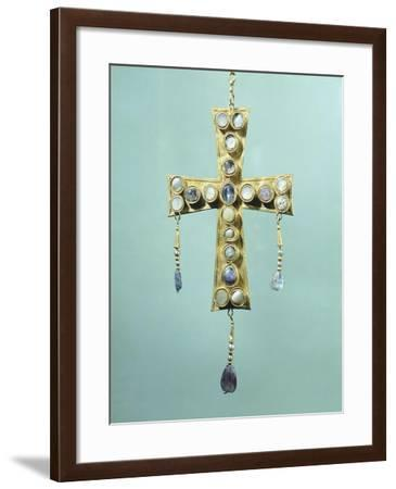 Votive Cross in Gold and Precious Stones--Framed Giclee Print