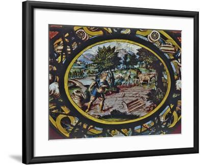Windows of Montigny Church, Depicting an Allegory of October and Scene of Agricultural Work--Framed Giclee Print