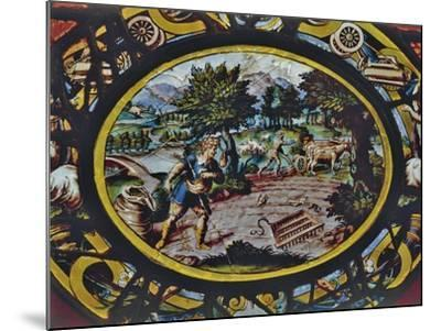 Windows of Montigny Church, Depicting an Allegory of October and Scene of Agricultural Work--Mounted Giclee Print