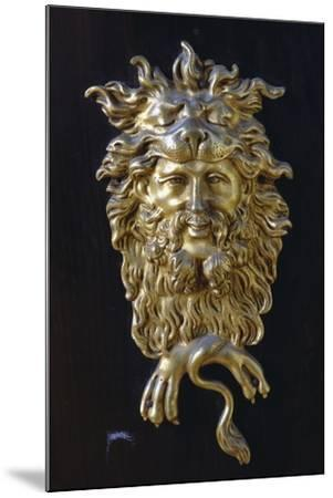 Bronze Mask, Detail from Napoleon III Style Piece of Furniture with Imitation Boulle Inlays, France--Mounted Giclee Print
