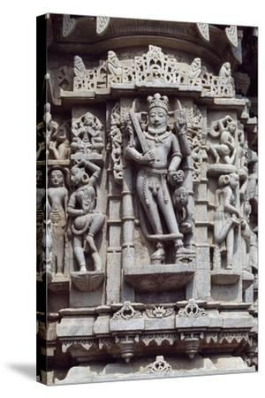 Relief from Chaumukha Jain Temple Dating Back to 1439, Near Ranakpur, Rajasthan, India--Stretched Canvas Print