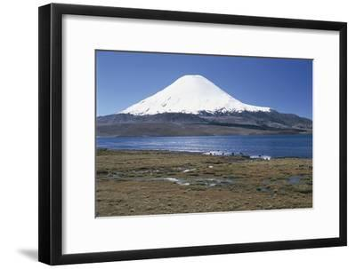 Chile, Norte Grande, Tarapacá, View of Chungara Lake and Parinacota Volcano in Andes Mountains--Framed Giclee Print