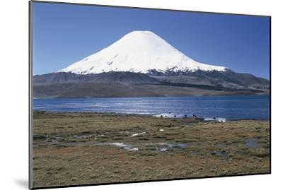 Chile, Norte Grande, Tarapacá, View of Chungara Lake and Parinacota Volcano in Andes Mountains--Mounted Giclee Print