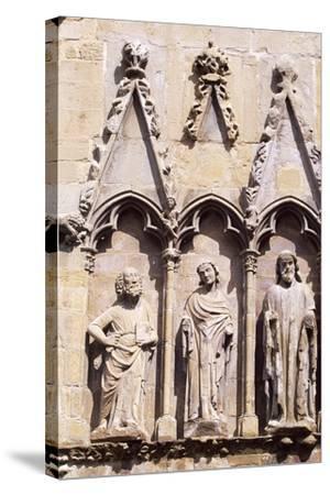 Spain, Navarre, Olite, Santa Maria La Real Church, Church Facade--Stretched Canvas Print