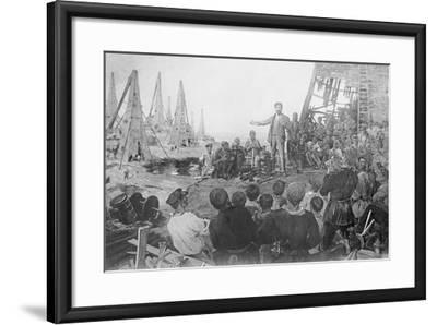 Stalin Haranguing Workers in Baku--Framed Giclee Print
