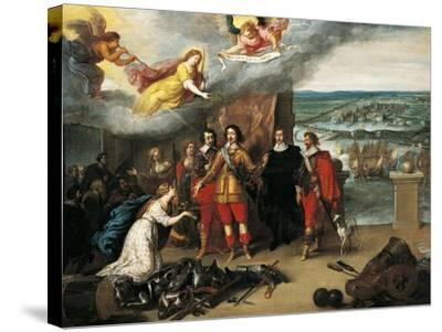 Louis XIII Receiving Keys of La Rochelle During Siege of 1628, France--Stretched Canvas Print