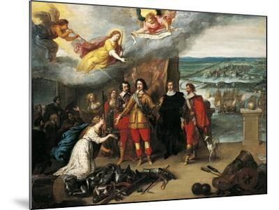 Louis XIII Receiving Keys of La Rochelle During Siege of 1628, France--Mounted Giclee Print