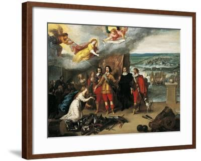 Louis XIII Receiving Keys of La Rochelle During Siege of 1628, France--Framed Giclee Print