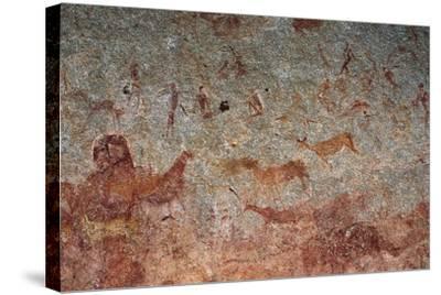 Human and Animal Figures, Cave Paintings, Chamavara Cave, Masvingo, Zimbabwe--Stretched Canvas Print