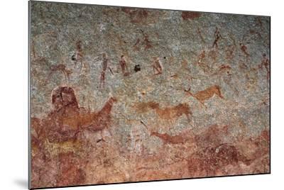 Human and Animal Figures, Cave Paintings, Chamavara Cave, Masvingo, Zimbabwe--Mounted Giclee Print