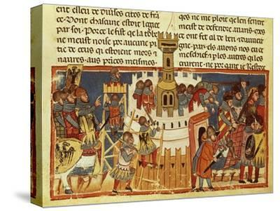 Laying Siege on a Fortress, Miniature from the Facts of the Romans, Italy 14th Century--Stretched Canvas Print