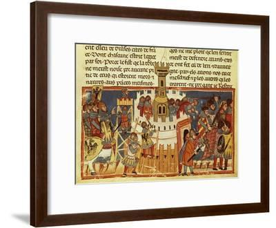 Laying Siege on a Fortress, Miniature from the Facts of the Romans, Italy 14th Century--Framed Giclee Print