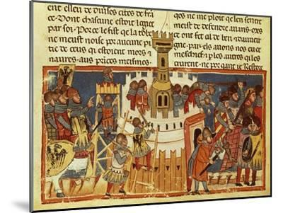 Laying Siege on a Fortress, Miniature from the Facts of the Romans, Italy 14th Century--Mounted Giclee Print