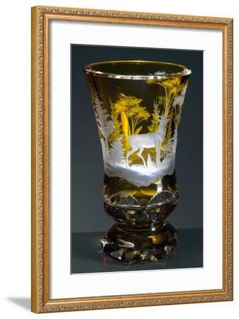 Bell-Shaped Glass with Hunting Subject, Greenish Yellow Crystal, Ca 1840--Framed Giclee Print