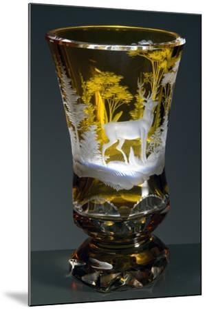 Bell-Shaped Glass with Hunting Subject, Greenish Yellow Crystal, Ca 1840--Mounted Giclee Print