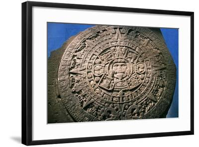 Sun Stone or Aztec Calendar Stone, Found in Tenochtitlan in 1789, Mexico--Framed Giclee Print