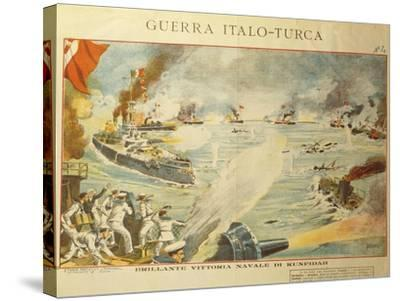 Engraving Depicting the Shelling of Kufindah, Italo Turkish War, Libia, 1911-12--Stretched Canvas Print